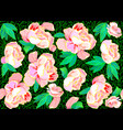 seamless pattern with pink roses on a black vector image