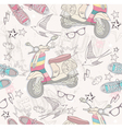 Seamless pattern with shoes retro scooter vector image vector image