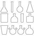 set icons glass laboratory tableware vector image