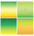 set of cards with indian mandala on green gradient vector image vector image