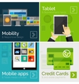 Set of flat design banners mobile business vector image