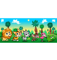 Set of funny animals in the forest vector image vector image