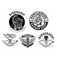 set vintage barbershop emblems labels and vector image vector image