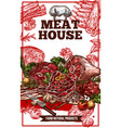 sketch meat house poster vector image vector image