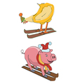 Skier pig pullet vector image vector image