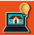smart home with laptop computer isolated icon vector image vector image