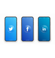 twitter facebook linkedin logo on iphone screen vector image