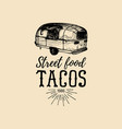 vintage mexican food truck logo tacos icon vector image
