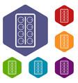 watercolor icons set hexagon vector image