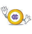 waving hshare coin character cartoon vector image vector image