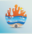 world oceans day concept design with paper art vector image