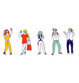 young men and women characters in medical masks vector image vector image