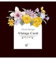 Vintage floral bouquet botanical greeting card vector image
