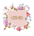 Watercolor Greeting Card with Blooming Flowers vector image