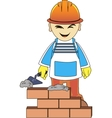 Builder man is building a brick wall vector image