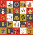 advent calendar with christmas gold characters vector image