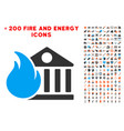 bank fire conflagration icon with bonus fire vector image vector image