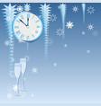 blue christmas clock vector image
