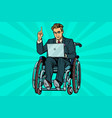 businessman in wheelchair with laptop vector image vector image