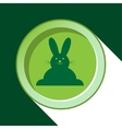 button with dark green Easter bunny and shadow vector image vector image