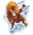 cartoon ninja squirrel holding samurai sword vector image