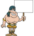 Cartoon of a barbarian holding a sign vector image vector image