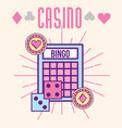 casino bingo dices and chips cartoon style vector image