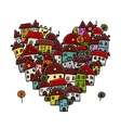 City of love heart shape sketch for your design vector image vector image