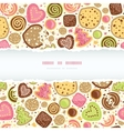Colorful cookies horizontal torn frame seamless vector image