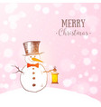 cute snowman with cylinderand lantern on pink vector image vector image