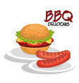 delicious burger and sausages bbq menu vector image