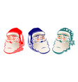 drawing silhouette of head of santa claus set vector image vector image