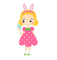 easter kid cartoon girl with pink bunny ears vector image