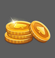 few gold coins icon vector image vector image