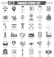 Finance black icon set Dark grey classic vector image vector image