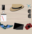 flat lay traveler accessories on background with vector image