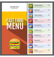 Flat style design of fast food menu vector image