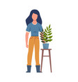 gardener with plant woman holding flowers vector image vector image