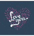 Grunge Love Card - with sunbirst vector image vector image
