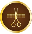hairdresser sign with scissors and comb vector image vector image