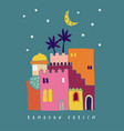 hand drawn colorful arab houses with moon and vector image vector image