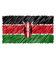 hand drawn national flag of kenya isolated on a vector image vector image