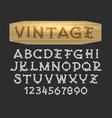 Hand drawn vintage font in wood cut style