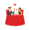happy elegant couple sitting in a cafe man and vector image vector image