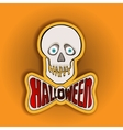 Happy Halloween sticker with skull on a yellow vector image vector image