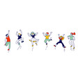 happy kids in medical masks stand in row dancing vector image