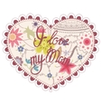 Heart vintage with I love my Mom vector image vector image