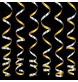 holiday silver serpentine ribbons set vector image