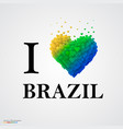 i love brazil font type with heart sign vector image vector image