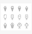 ice cream line icons vector image